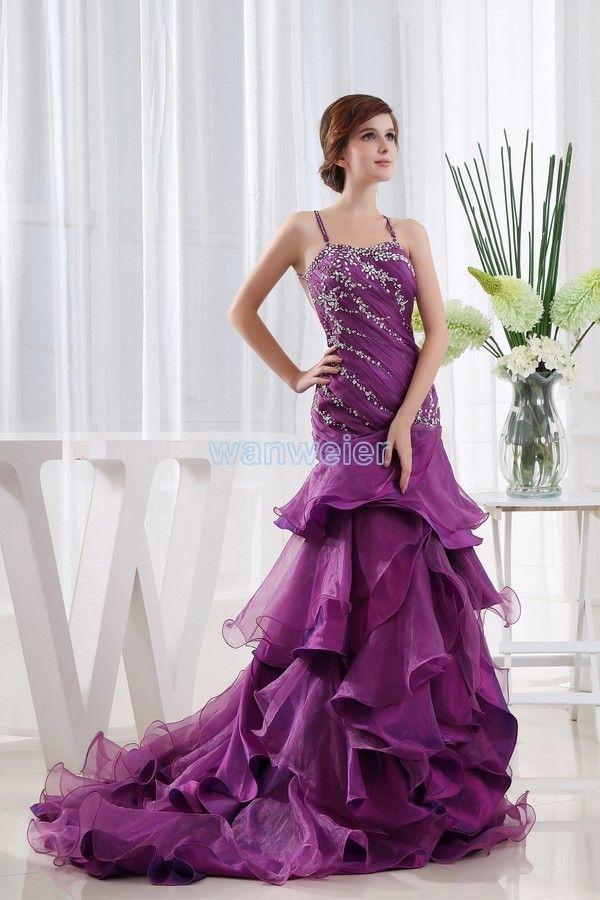 e0058df08b Sling Sweetheart Mermaid Train Organza Purple Prom Dress With Shirring And  Beading(ZJ5394)