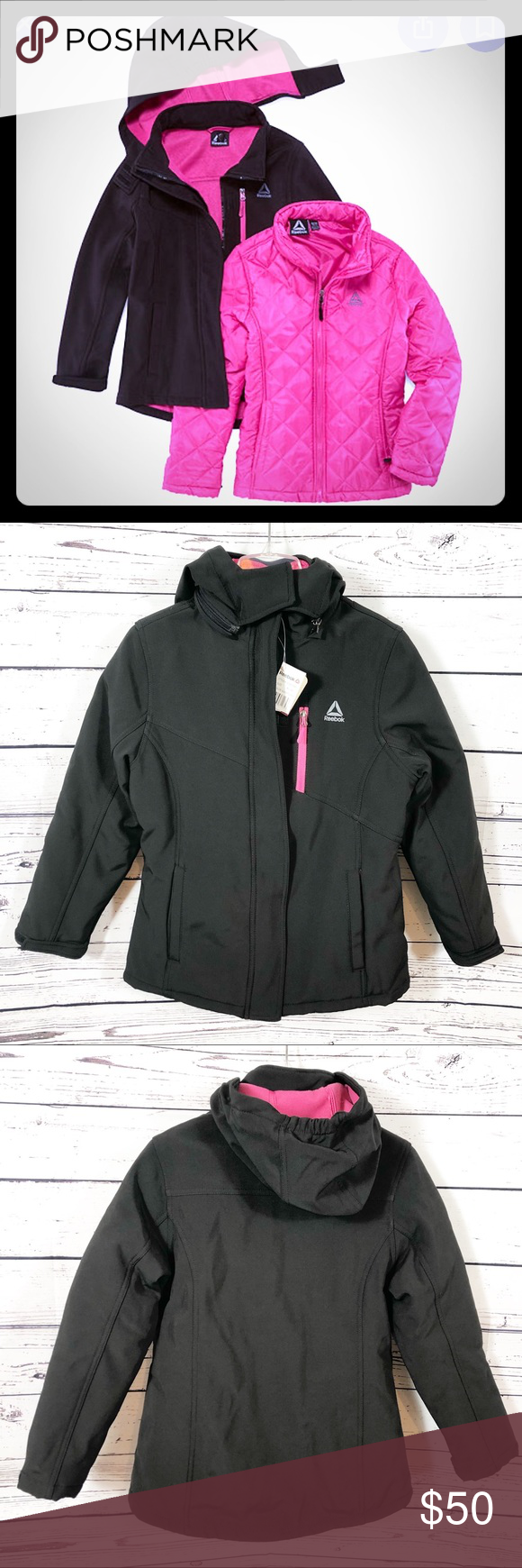 Reebok 3 In 1 Systems Winter Jacket Black Pink Winter Jackets Size Girls Jackets [ 1740 x 580 Pixel ]