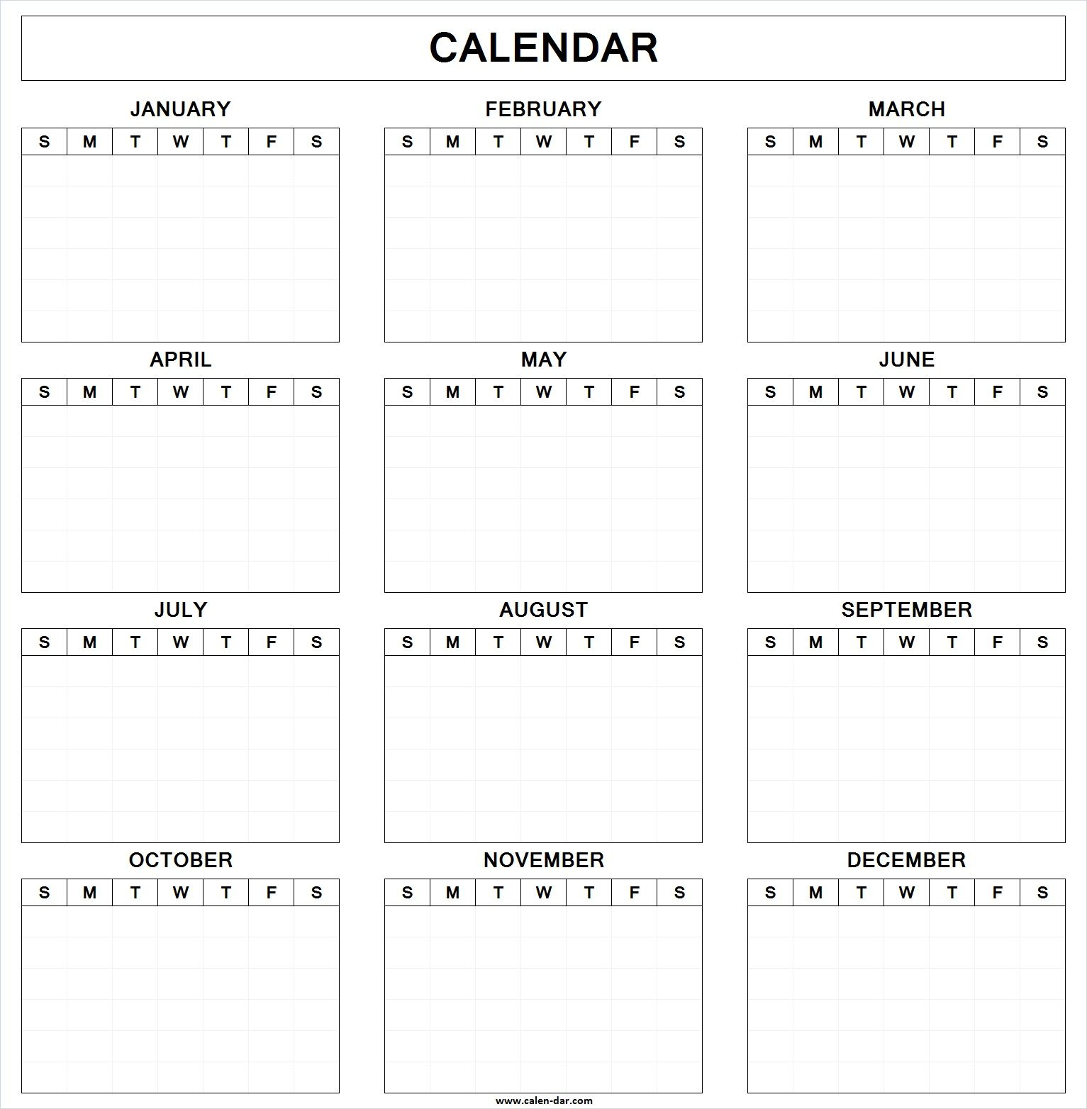 Blank Yearly Calendar Template 2018 | Home decor | Pinterest