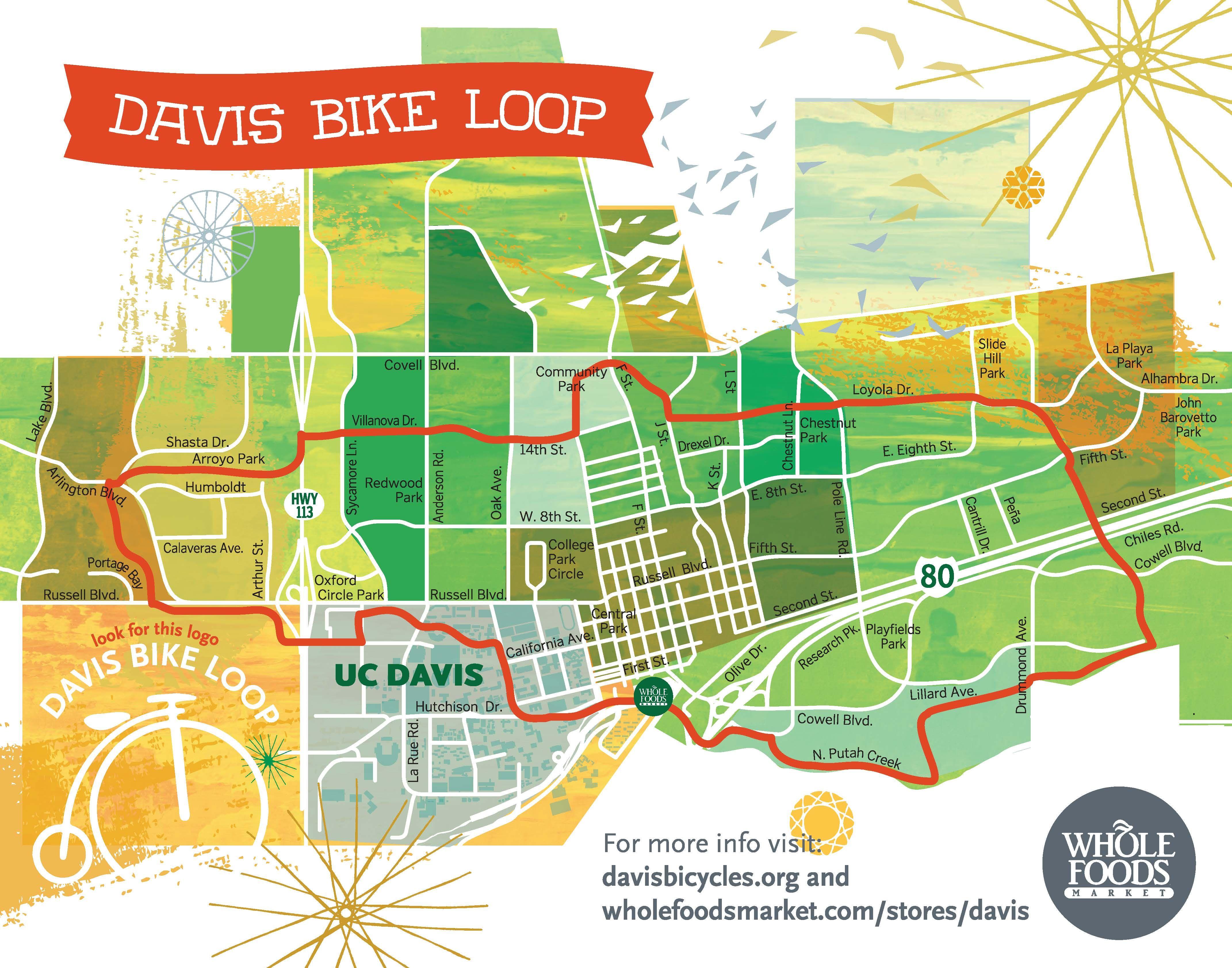 Davis Bike Loop! For more great maps visit www.yolocvb.org | Davis on