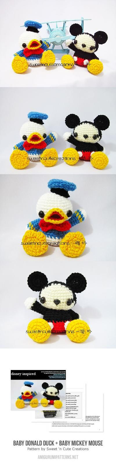 Baby Donald Duck + Baby Mickey Mouse amigurumi pattern by Sweet N ...