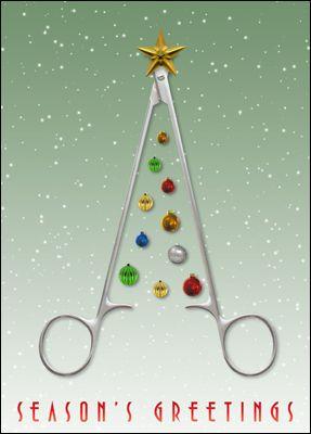 Surgeon christmas card glossy white 1802 scissors support surgeon christmas cards personalized for your business reheart Choice Image