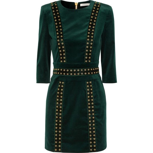 0ca5fd15 Pierre Balmain Embellished stretch-cotton velvet mini dress ($1,150) ❤  liked on Polyvore featuring dresses, emerald, stretch cotton dress, velvet  mini ...