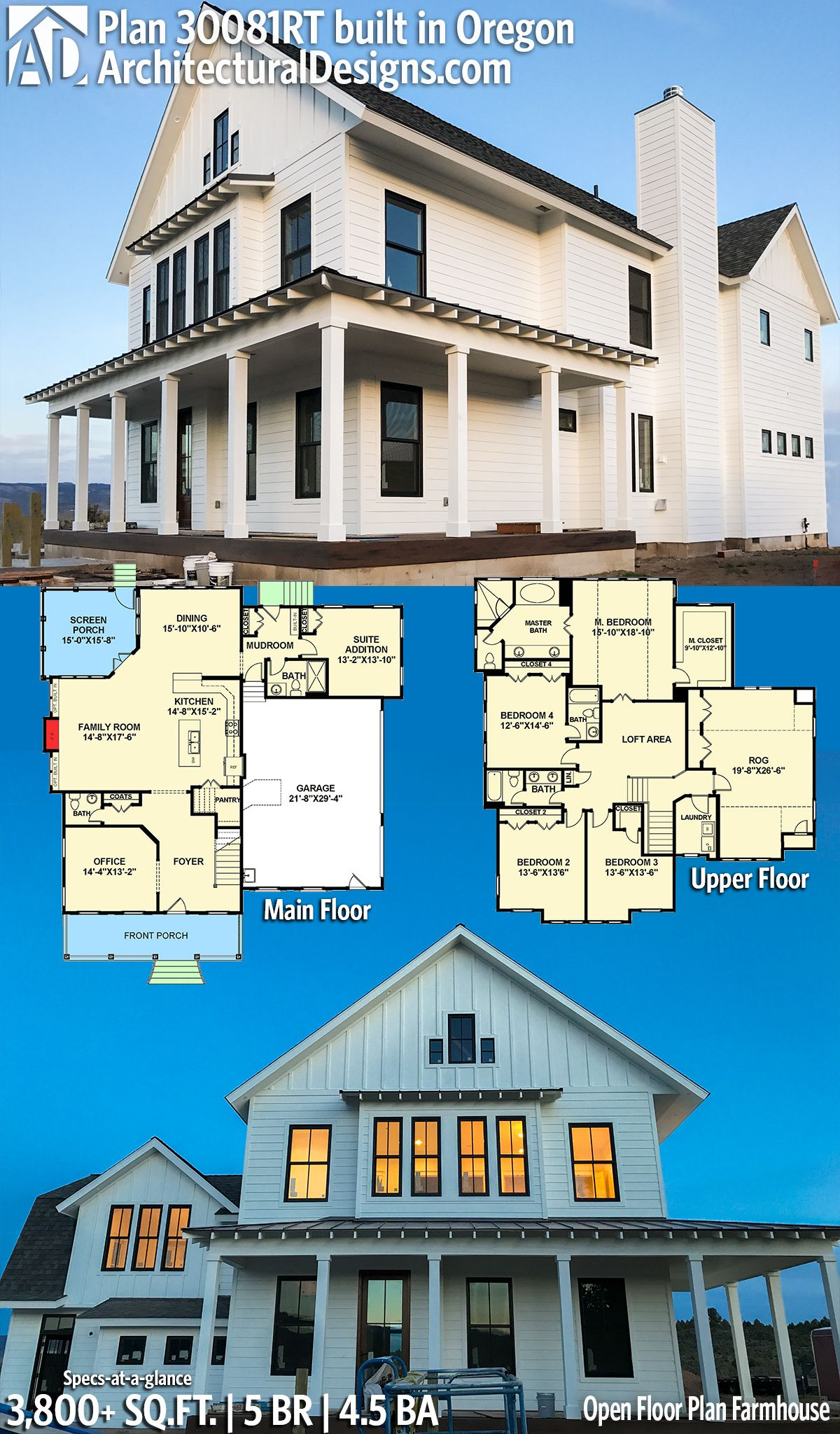 Mother In Law Suite House Plans Addition In Law Apartment Ideas: Plan 30081RT: Open Floor Plan Farmhouse In 2019