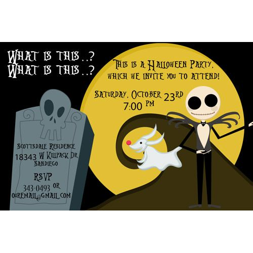 Nightmare Before Christmas Birthday Party: Nightmare Before Christmas Halloween Party Invitations