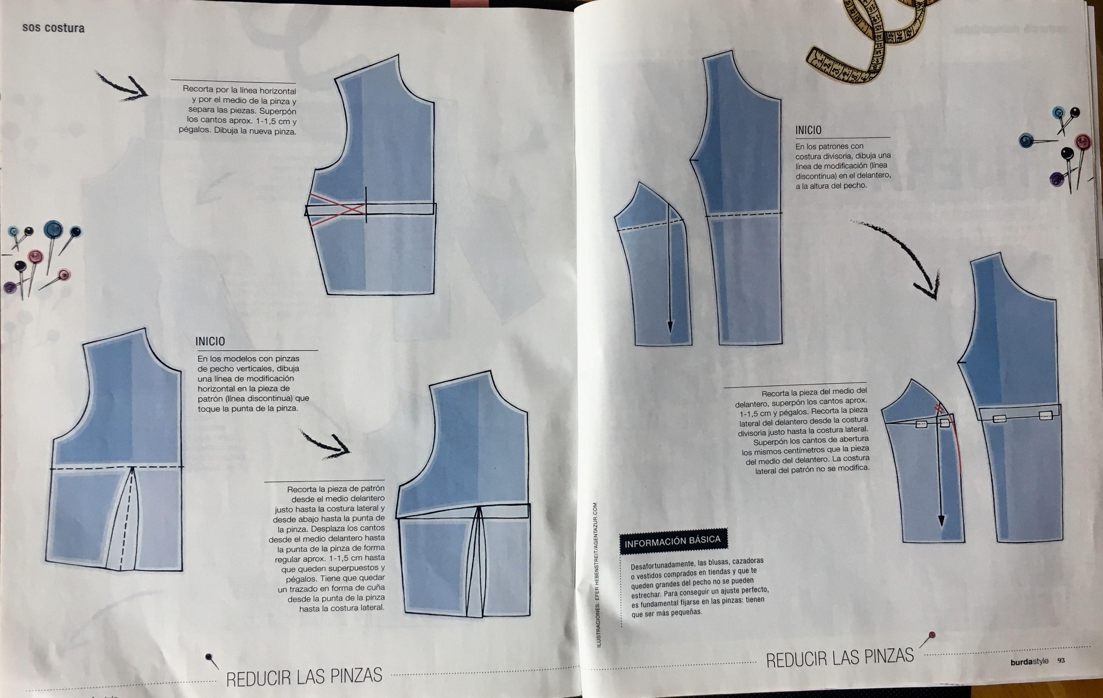 Reducir las pinzas. El pecho pequeño. Burda Style 3/18 - Páginas 92 ...