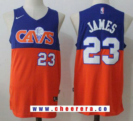 dc7a2e4ac89 Men s Cleveland Cavaliers  23 LeBron James Royal Blue with Orange Fadeaway  2017-2018 Nike Swingman Stitched NBA Jersey