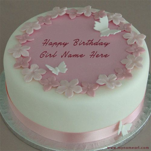 Write Girl Name On Butterfly Design Birthday Cake Pictures ...