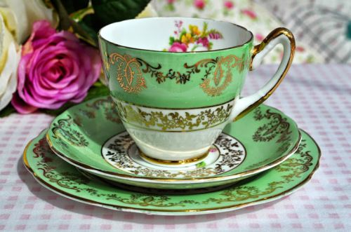 Coronet Vintage English China Green, Gold and Floral Teacup Trio c.1940's