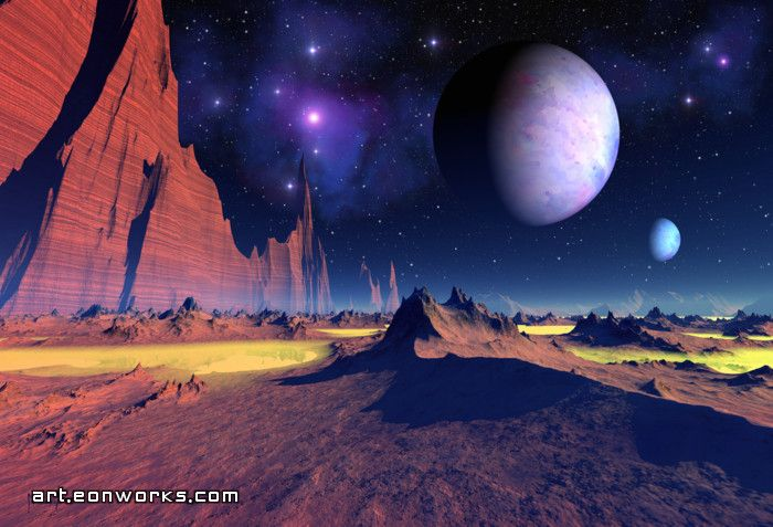 Space art landscape with stars and planets spaceart for Outer space landscape