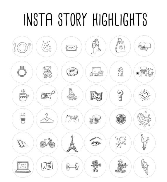 200+ Instagram Story Highlights Icons Covers | Black and White | Instagram Icons | Hand Drawn Template Graphic Bundle Instagram Highlights