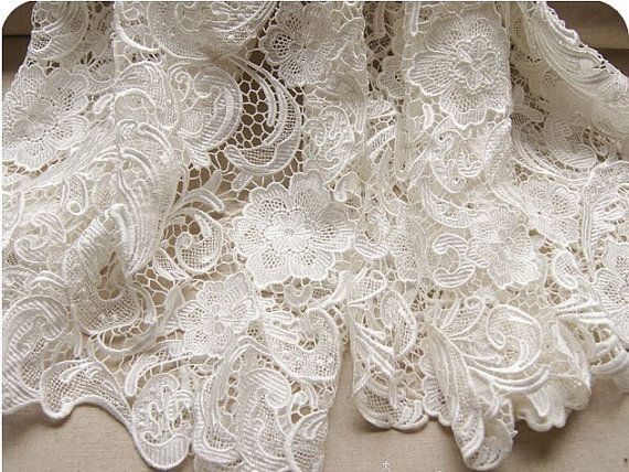 White lace fabric for wedding dresses