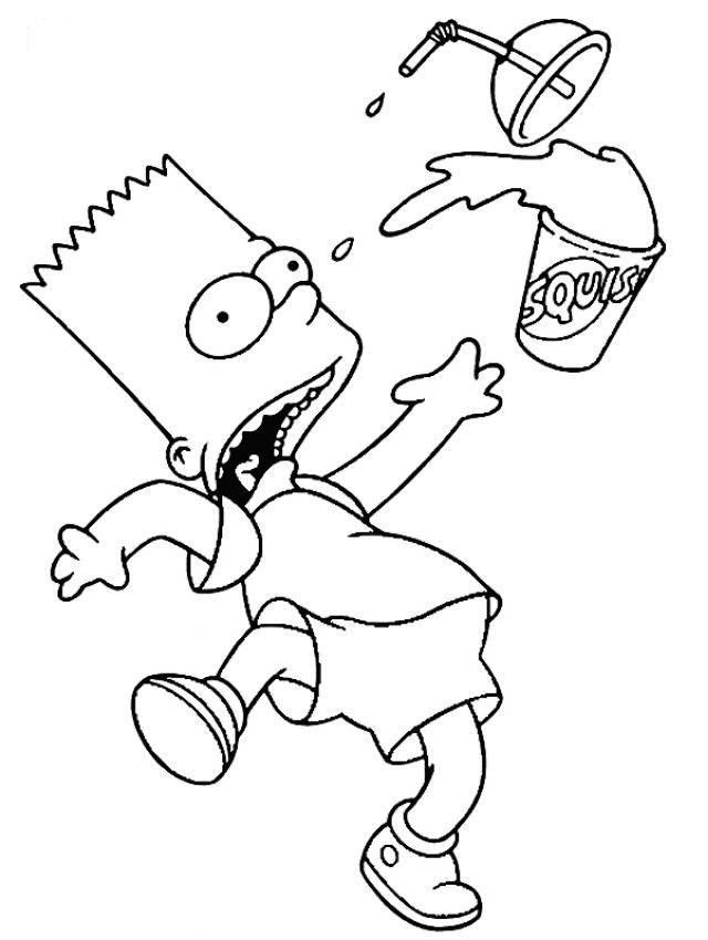 bart simpson coloring page in 2019 Simpsons drawings