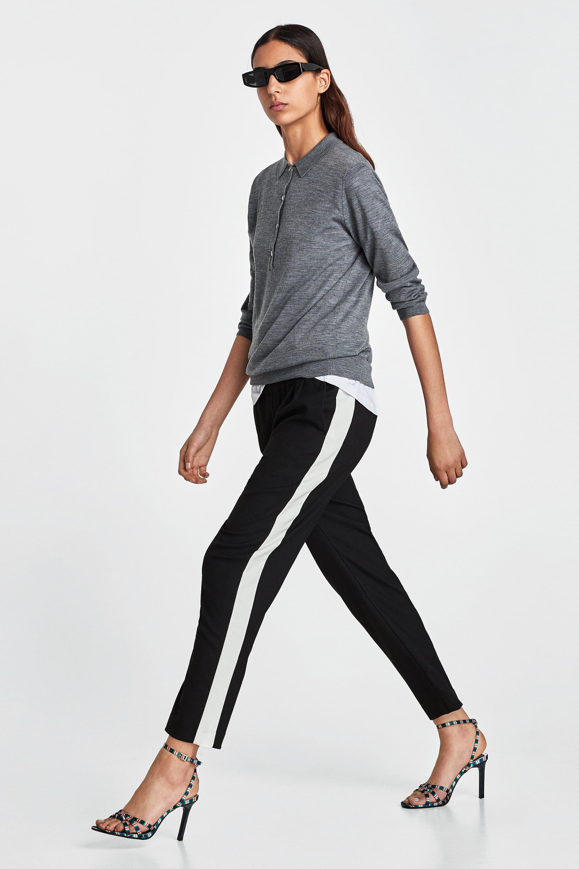 Pantalon Banda Lateral Side Stripe Trousers Zara Pants