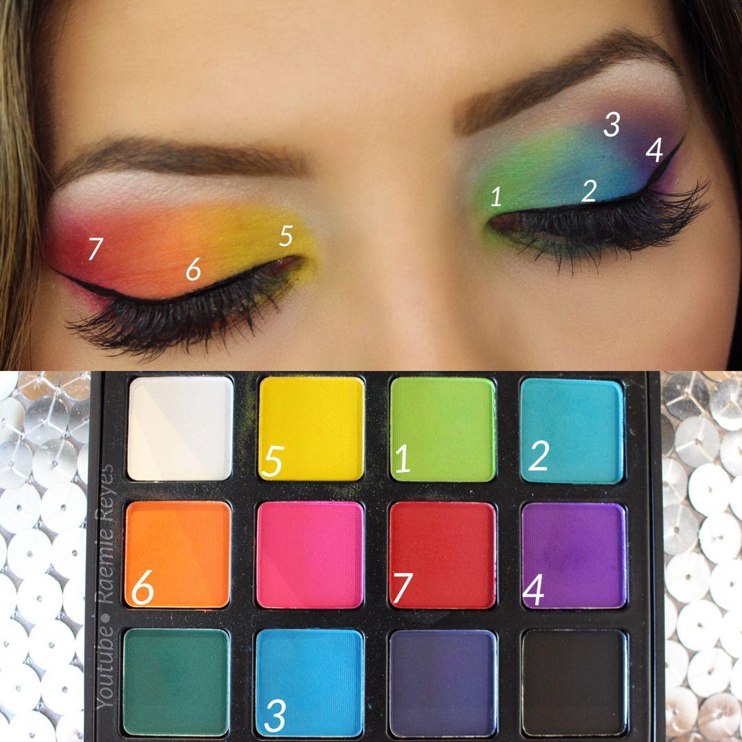 Step by Step on my Rainbow eyeshadow makeup - full ...
