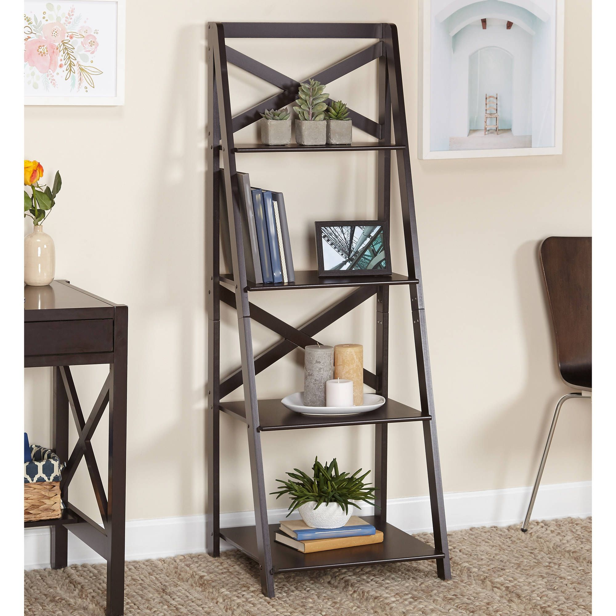 Buy Tms X 4 Tier Shelf Multiple Finishes At Walmart Com With Images Ladder Shelf Decor Home Decor Decor