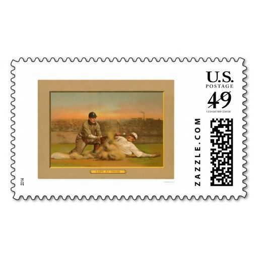 Safe At Third Baseball Card 1911 Postage Stamps. This great stamp design is available for customization or ready to buy as is. Of course, it can be sent through standard U.S. Mail. Just click the image to make your own!