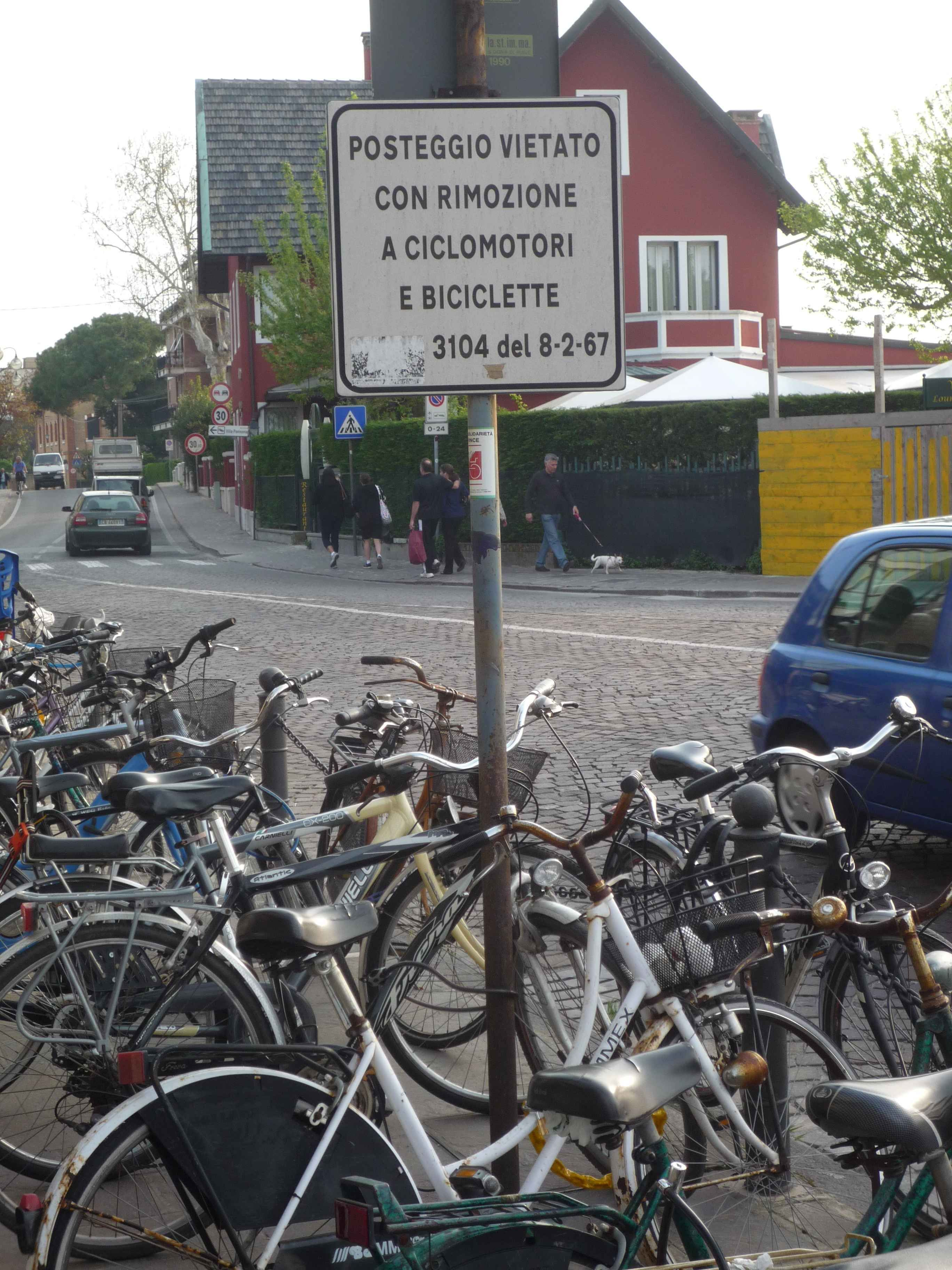 Northern Italy - Venice - Lido di Venezia - no parking for bicycles :-)