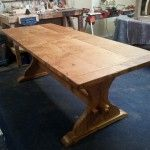 Handmade table in pippy (cats paw) oak, reclaimed oak base - Quercus Furniture