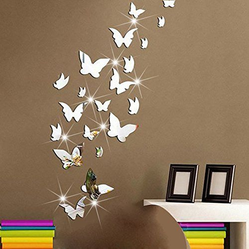 Amaonm 21 Pcs Removable Crystal Acrylic Mirror Butterfly Wall