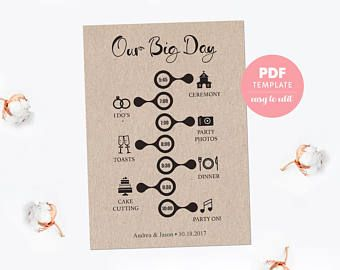 wedding timeline card wedding template card easy editable pdf