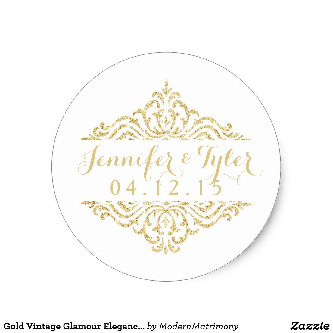 Gold Vintage Glamour Elegance Wedding Stickers This elegant, vintage ...
