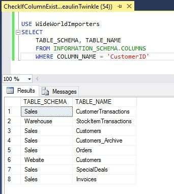 Sql Server Check If Column Exists In Table Sql Server Sql Column