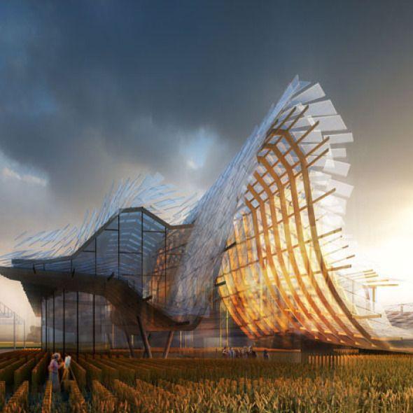 """Alimentar el planeta La Universidad de Tsinghua, junto con la sede central en Nueva York del Studio Link-Arc, Diseñaron el Pabellón Chino 2015, de la Expo- Milán. Basándose en el tema central de la Exposición, """"Alimentar el planeta – Energía para la Vida"""", el proyecto; pabellón """"Tierra de esperanza"""", se centra en la idea de que """"la esperanza se puede realizar cuando la naturaleza y la ciudad existen en armonía."""""""