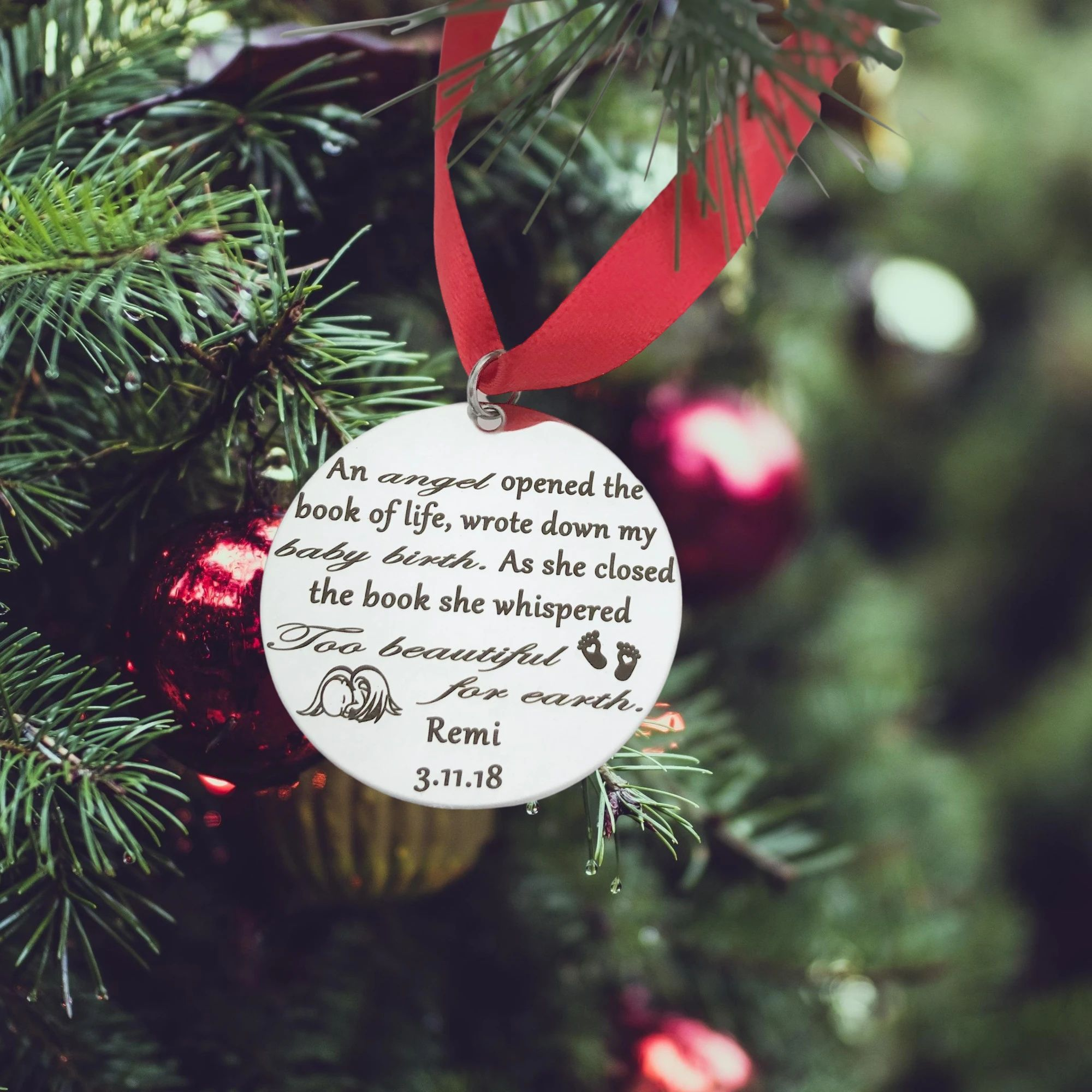 Too Beautiful For Earth Baby Christmas Tree Memorial Keepsake Ornament Memorial Keepsakes Gift Guide For Him Earth Baby