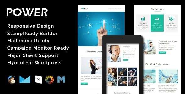POWER - Multipurpose Responsive Email Template + Stamp Ready - responsive email template