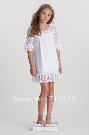 Tea Princess Island White Lace Tiered Dress | Beach Flower Girl ...