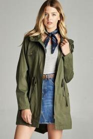 Olive Hooded Utility Jacket