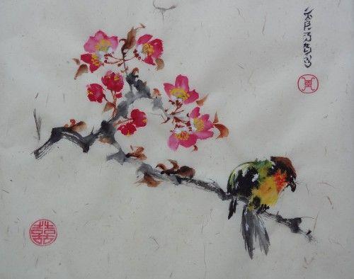 Aquarelle Oiseau Fleurs Chine Xieyi Abby Animaux Aquarelle