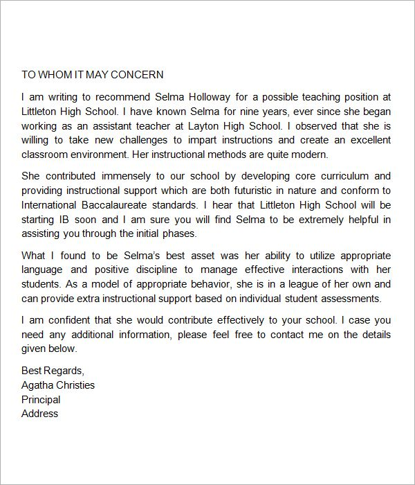 Sample Letter Of Recommendation For Student Teacher