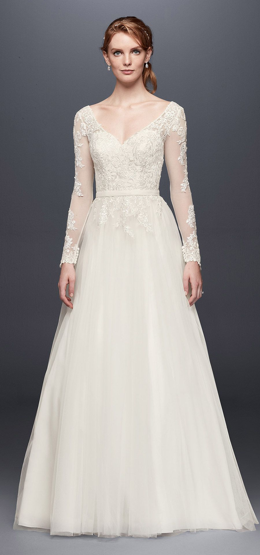 Long sleeve wedding dress with low back style wg wedding gowns