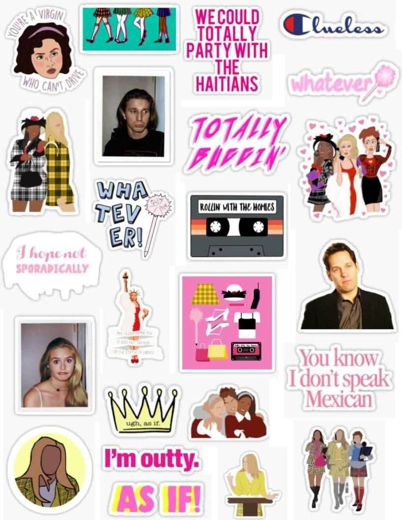 Clueless Sticker Pack The Movies Clueless 90s Stickers Rollin With The Homies Cher Horowitz Dionne Davenpo Cute Stickers Aesthetic Stickers Hydroflask Stickers