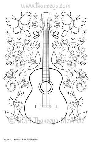 Free Printable Dia De Los Muertos Guitar Coloring Page Halloween