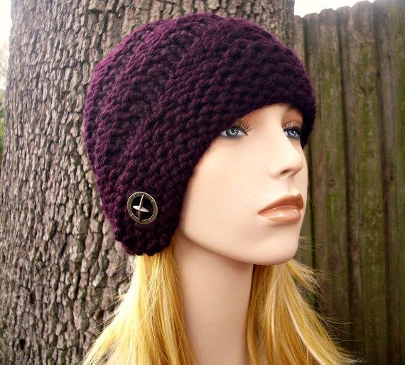 Knit Hat Brown Womens Hat - Hybrid Swirl Cloche Hat in Coconut Cream and  Brown Knit Hat - Brown Hat Cream Hat Knit Accessories Winter Hat