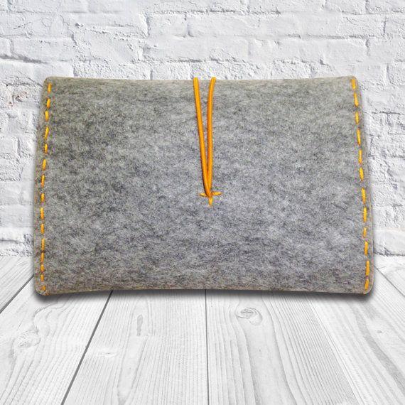 Felt Bag, Cosmetic Bag, Handmade Felt Case Pouch, iPhone Bag, Telephone and Power Adapter Bag, Tobacco Bag Grey and Orange Bag