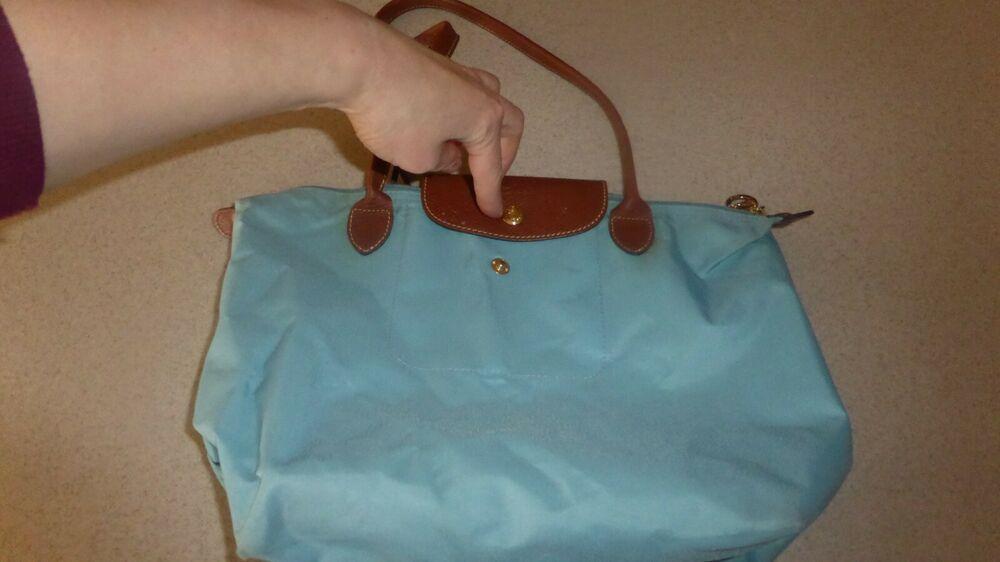 Longchamp Le Pliage Tote Bag Shopping Blue Handbag Purse Canvas Leather
