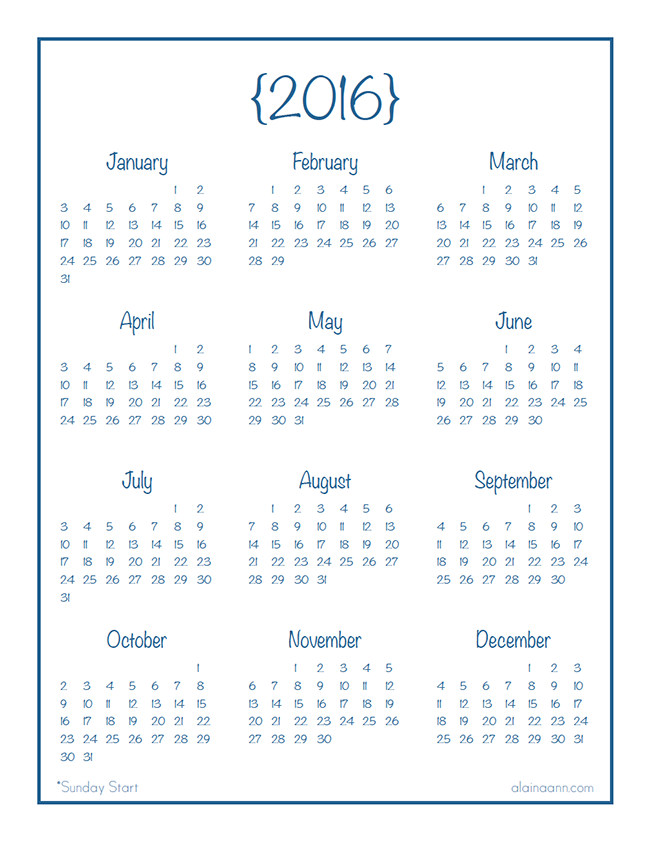 2016 year at a glance calendar organized life free printable 2016 year at a glance calendar organized life free printable pronofoot35fo Choice Image