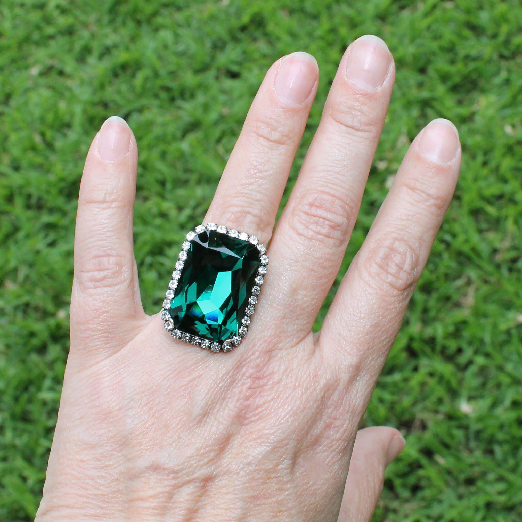 Emerald Ring Emerald Green Swarovski Crystal Ring