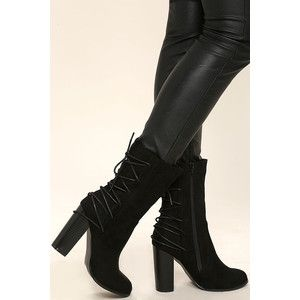 Night Life Black Suede Mid-Calf High Heel Boots