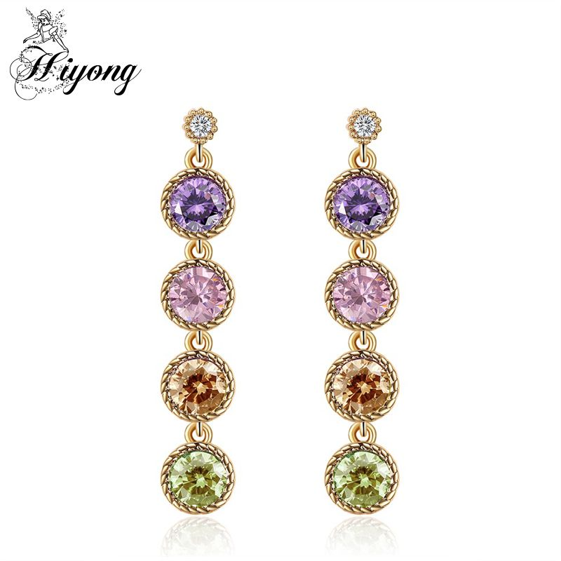 HIYONG Round String Earring Multicolor CZ Bezel Setting Twisted Wire ...