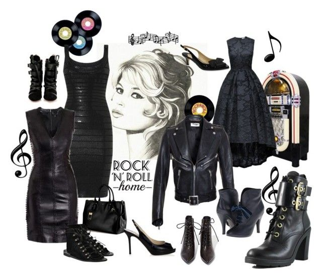 Rock & Roll by brittxxx on Polyvore featuring mode, Hervé Léger, Yves Saint Laurent, GUESS, Mojo Moxy, Jeffrey Campbell, Ancient Greek Sandals, Isabel Marant, Jimmy Choo and J.Reneé