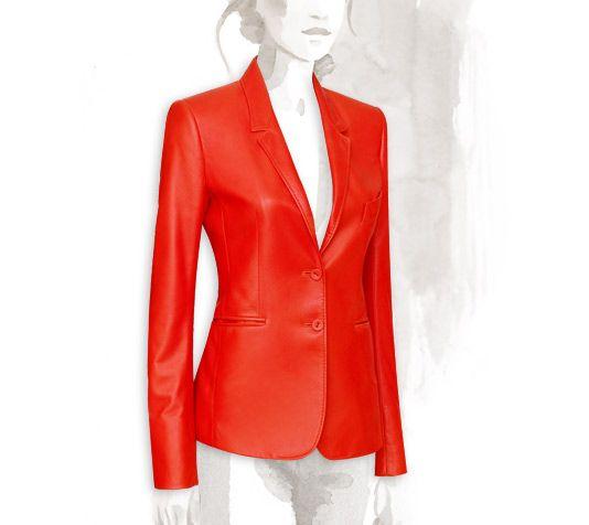 Veste en cuir rouge hermes
