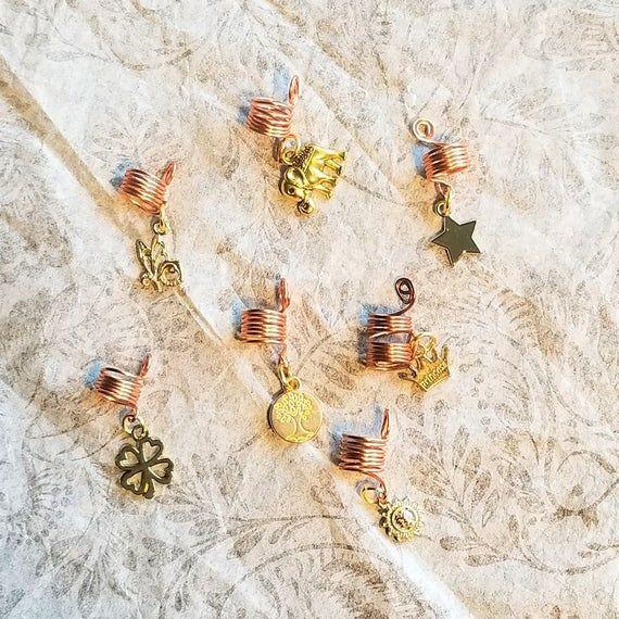 7 Piece Golden Charm Loc Jewelry Hair Accessories Braid Jewelry Dreadlock Jewelry Loc Beads Braid Ac #70shair