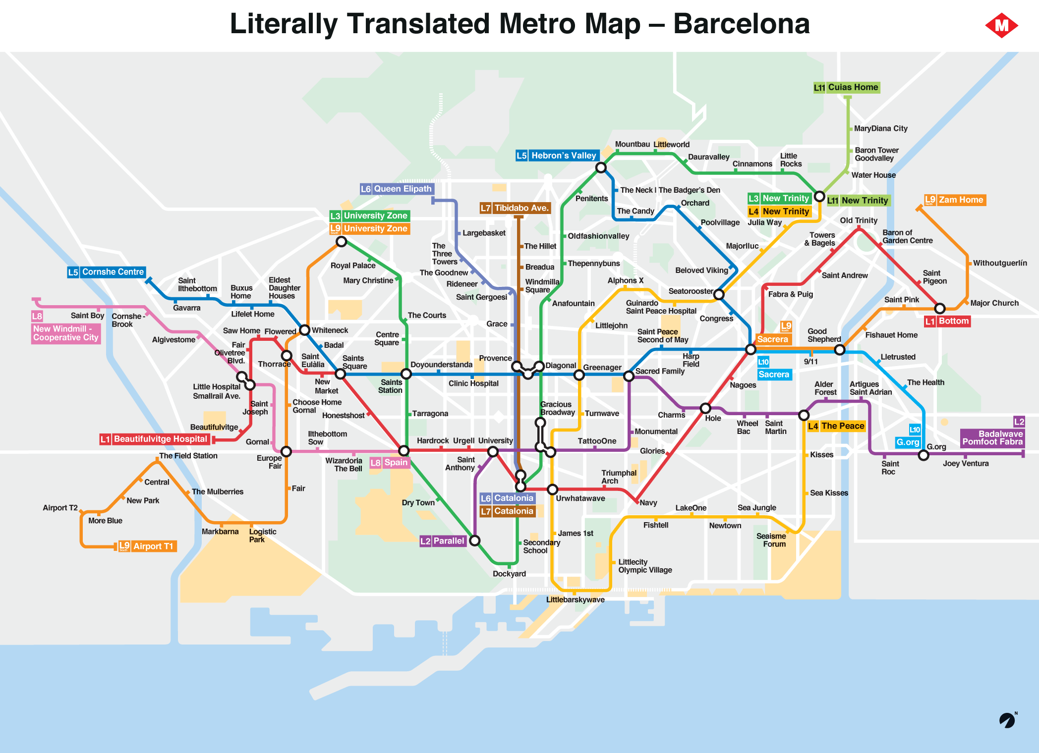 Subway Map Of Barcelona Spain.Literally Translated Metro Map Barcelona X Post From R Barcelona