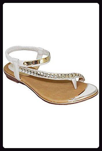 SAPHIR BOUTIQUE JLH753 Asia Damen Dehnbar Asymmetrisch Gurt Diamante Mode Zehensandale - Schwarz, 41 EU
