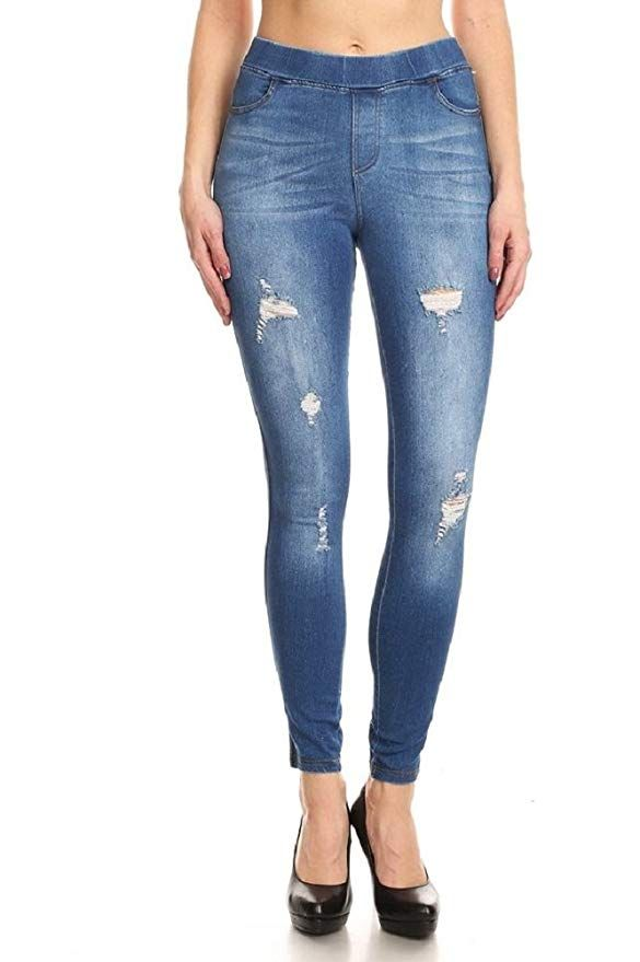 ad0220043cd2 Women s Stretch Pull-On Skinny Ripped Distressed Denim Jeggings (1X-Large